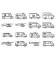 rescue ambulance icons set outline style