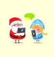 santa snow maiden and gadgets vector image