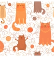 seamless pattern with cute cats and balls yarn vector image