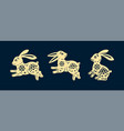set isolated rabbits in paper cutting style vector image vector image