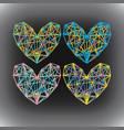 set neon hearts vector image vector image