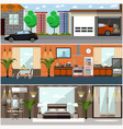 set of house interior posters banners in vector image vector image