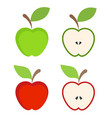 set of red and green apple fruit icon on white vector image