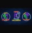 set of three halloween in neon style bony hand vector image
