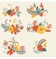 set six graphic floral design bunch vector image