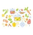 Soup Preparation Set Of Ingredients vector image