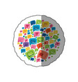 sticker circular shape colorful pattern formed by vector image vector image