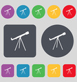 Telescope icon sign A set of 12 colored buttons vector image vector image