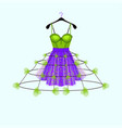 ultraviolet and fresh green party dress with flowe vector image vector image