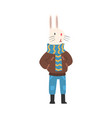 white rabbit wearing warm winter clothes vector image