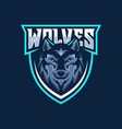 wild wolf esport mascot logo design vector image