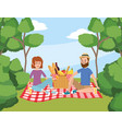 woman and man with basket picnic and trees vector image vector image