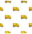 yellow mail truck pattern flat vector image vector image