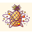 colorful yellow pineapple with elements a vector image