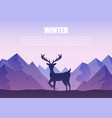 winter mountains landscape with reindeer vector image