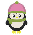 a cute bapenguin is covered in warm winter vector image