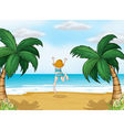 A girl enjoying the summer at the beach vector image
