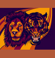 angry male lion versus angry tiger vector image vector image