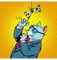 Business cat and money vector image vector image