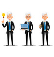 business man with gray hair vector image vector image