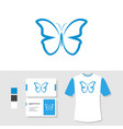 butterfly logo design with business card and t vector image