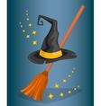 Cap wizard and witch broom Cartoon style vector image