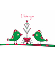 Card with birds and love Tree on white background vector image vector image