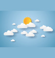 cloudscape blue sky with clouds and sun paper vector image
