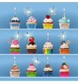 Collection of festive cupcakes with sparklers and vector image vector image