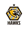 colorful logo sticker emblem a hawk flying vector image vector image