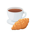 croissant and coffee vector image vector image