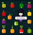 cute chibi girl and square flat vegetable icon set vector image