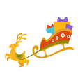 deer with sledge full presents for christmas vector image vector image