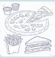 doodle set fast food pizza sandwiches and vector image