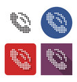 dotted icon handset in four variants with vector image