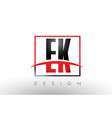 ek e k logo letters with red and black colors and vector image vector image