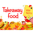 fast food restaurant menu cover with takeaway dish vector image vector image