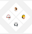 flat icon telemarketing set of headphone vector image vector image