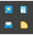 Four flat social icons set on Dark Background vector image vector image