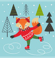 fox on ice skates vector image vector image