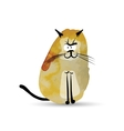 Funny cat Watercolor sketch for your design vector image vector image