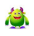 green cute monster with violet horn and big hands vector image