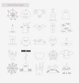 halloween set style line icons on white vector image vector image