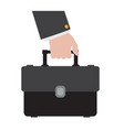 hand holding a suitcase icon vector image