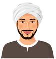 handsome arab man avatar face with beard vector image