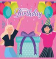 happy birthday women with gift and party hat vector image vector image