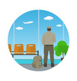 icon airport waiting room with man in uniform vector image