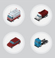 isometric car set of first-aid truck freight and vector image vector image