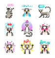 lemur emoji stickers set vector image vector image
