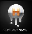letter h splash logo golden dots silver bubbles vector image